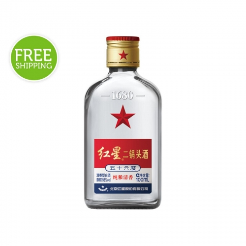 Red Star Erguotou Baijiu 56% 100mL (Case of 24)